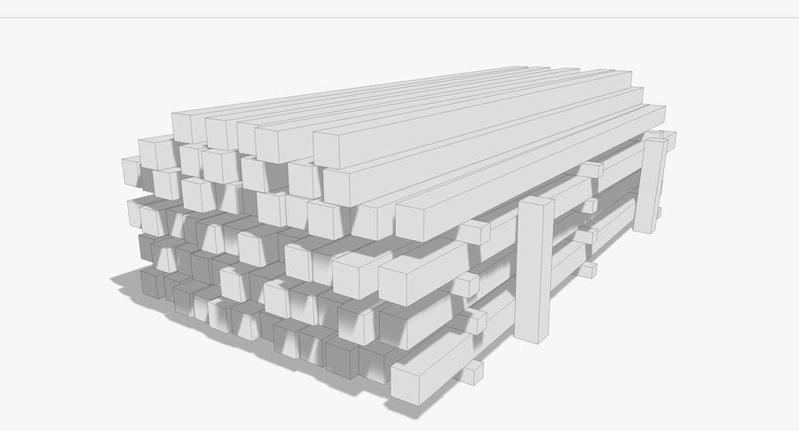 Kolekcja drewnianych bali, listew i belek royalty-free 3d model - Preview no. 22