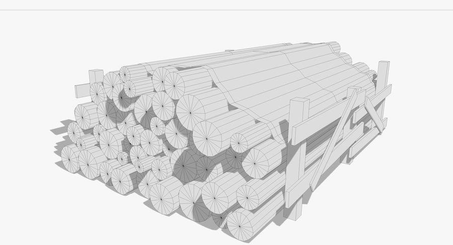 Kolekcja drewnianych bali, listew i belek royalty-free 3d model - Preview no. 7