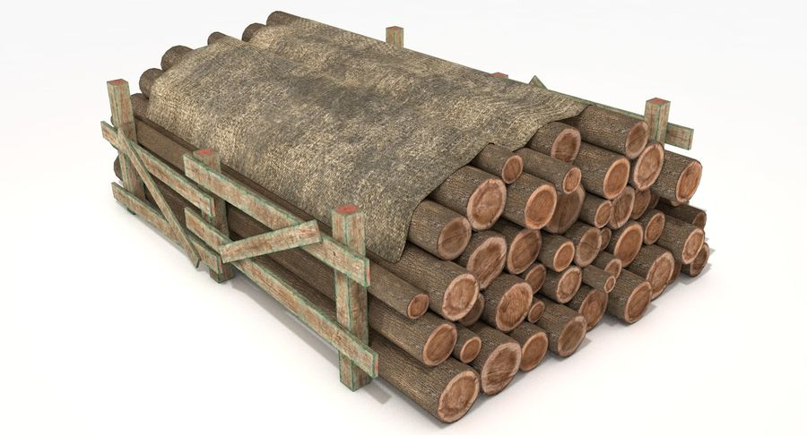 Kolekcja drewnianych bali, listew i belek royalty-free 3d model - Preview no. 4
