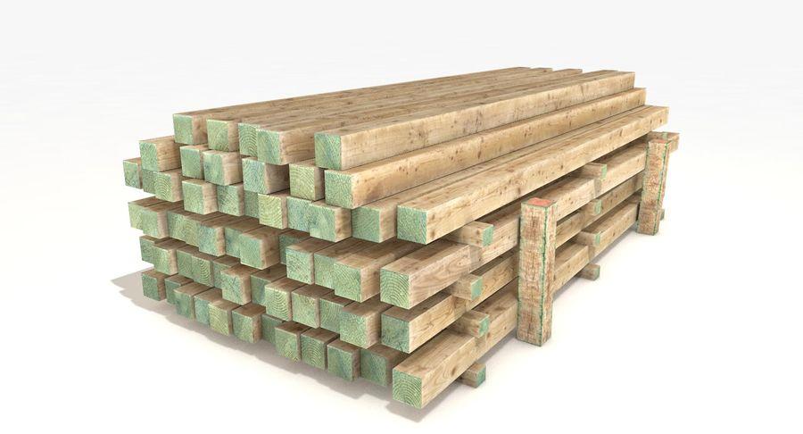Kolekcja drewnianych bali, listew i belek royalty-free 3d model - Preview no. 17