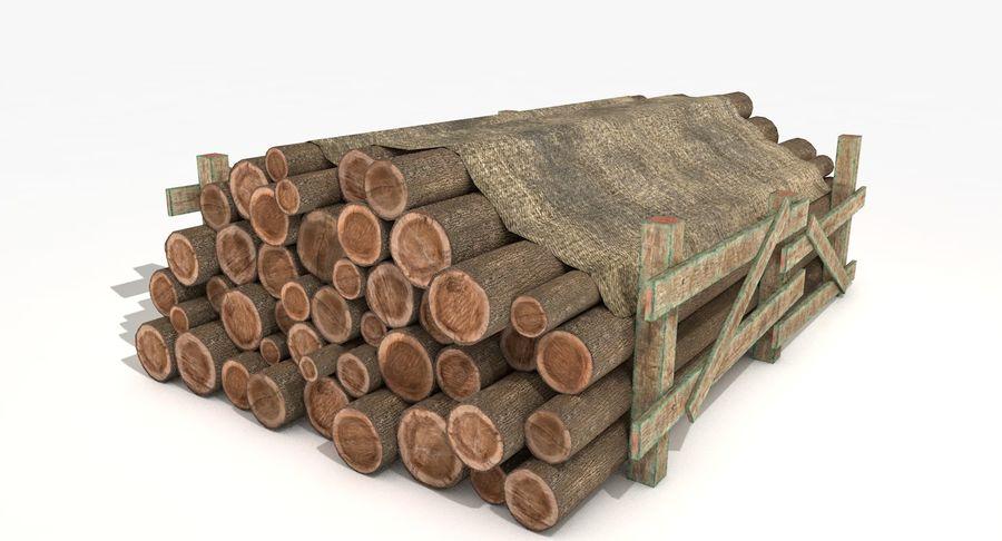 Kolekcja drewnianych bali, listew i belek royalty-free 3d model - Preview no. 2