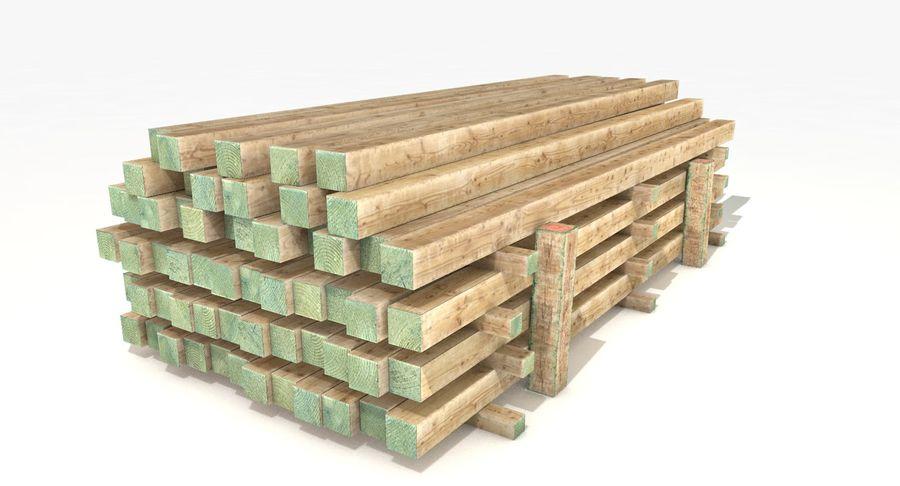 Kolekcja drewnianych bali, listew i belek royalty-free 3d model - Preview no. 20