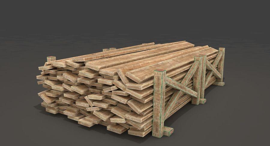 Kolekcja drewnianych bali, listew i belek royalty-free 3d model - Preview no. 11