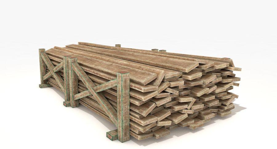 Kolekcja drewnianych bali, listew i belek royalty-free 3d model - Preview no. 12
