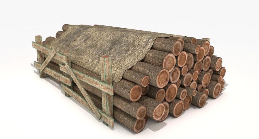 Kolekcja drewnianych bali, listew i belek royalty-free 3d model - Preview no. 6