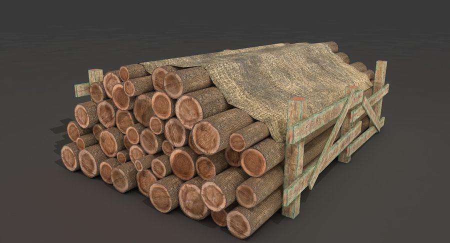 Kolekcja drewnianych bali, listew i belek royalty-free 3d model - Preview no. 3