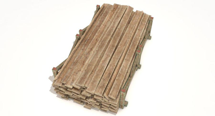 Kolekcja drewnianych bali, listew i belek royalty-free 3d model - Preview no. 14
