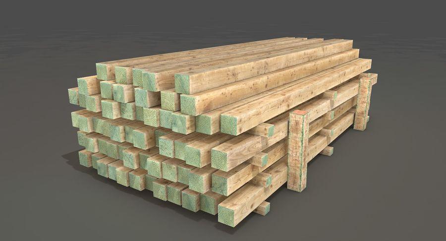 Kolekcja drewnianych bali, listew i belek royalty-free 3d model - Preview no. 18