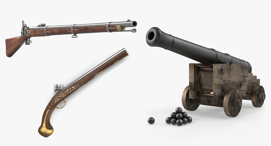 Pirate Weapons 3D Models Collection royalty-free 3d model - Preview no. 2