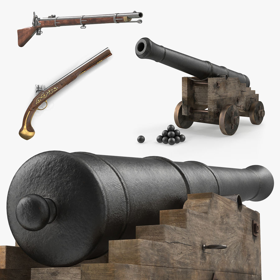 Pirate Weapons 3D Models Collection royalty-free 3d model - Preview no. 1