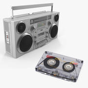 Portable Boombox and Audio Cassette Collection 3d model