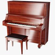 Piano upprätt trä 3d model