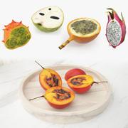 Collezione di modelli 3D di frutti esotici tagliati 3d model
