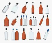 alkohol flaskor pack (2) 3d model