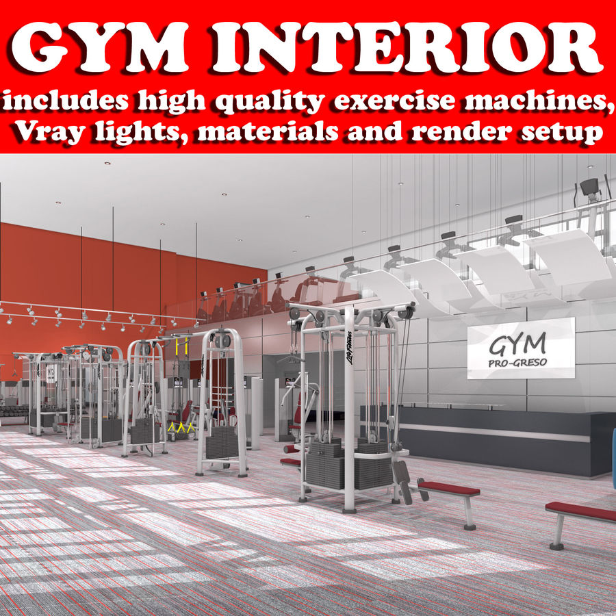 Fitnessstudio Interieur royalty-free 3d model - Preview no. 1