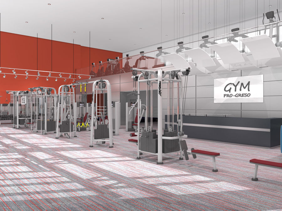 Fitnessstudio Interieur royalty-free 3d model - Preview no. 3