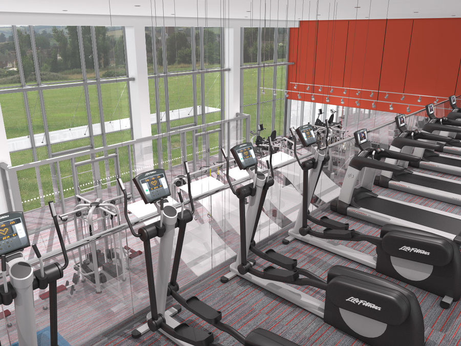 Fitnessstudio Interieur royalty-free 3d model - Preview no. 11
