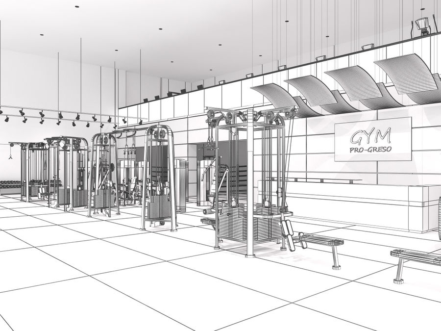 Fitnessstudio Interieur royalty-free 3d model - Preview no. 2