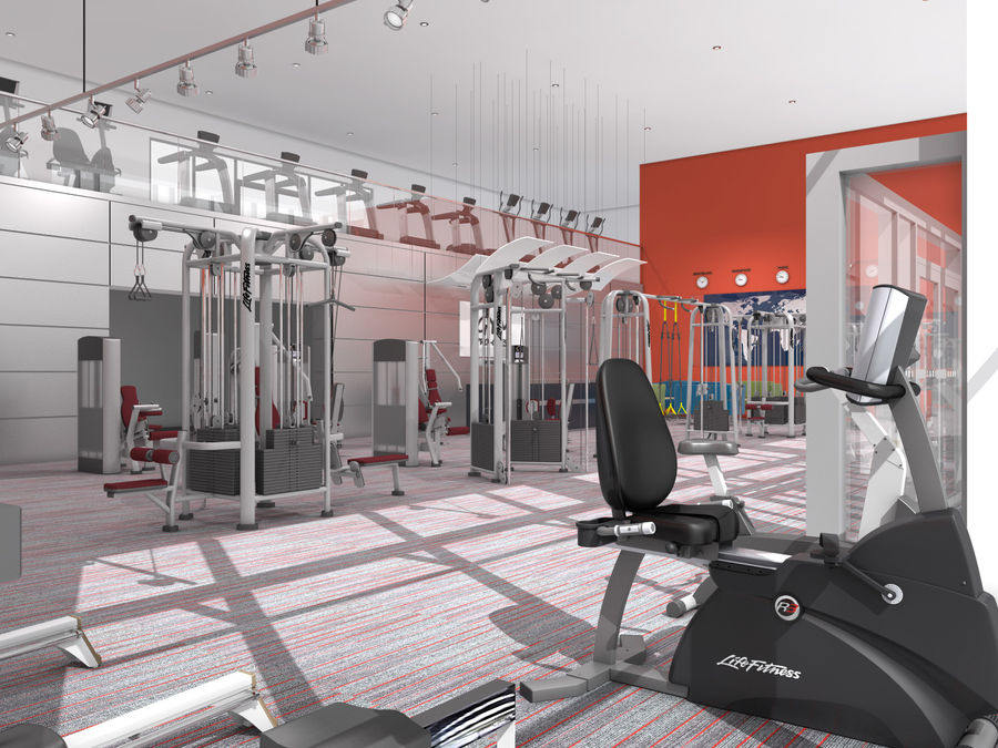 Fitnessstudio Interieur royalty-free 3d model - Preview no. 5