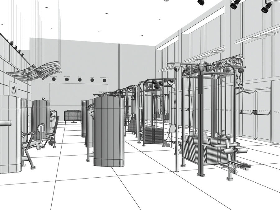 Fitnessstudio Interieur royalty-free 3d model - Preview no. 8