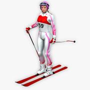 Esquiador feminino baixo poli 3d model