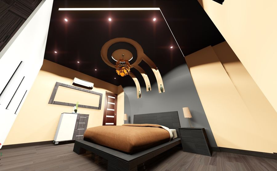 modern Bedroom royalty-free 3d model - Preview no. 1