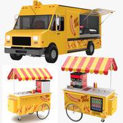ホットドッグのトラックとカート 3d model
