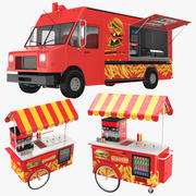 Burger Food Truck And Cart 3d model