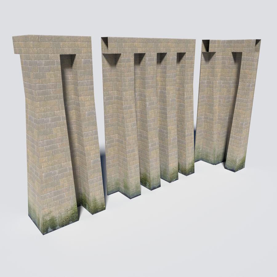 模块化城堡墙包 royalty-free 3d model - Preview no. 5