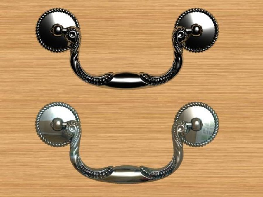 classic cabinet handle royalty-free 3d model - Preview no. 2