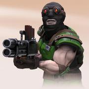 機関銃を持ったテロリストの兵士 3d model