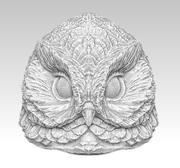 Owl bird head 3d model