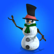 Snowman Cartoon (simple rigged) 3d model