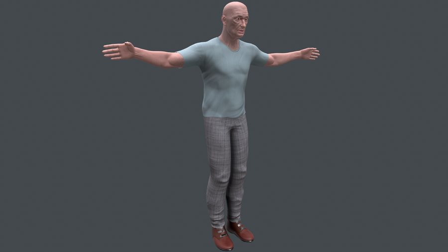 Старик royalty-free 3d model - Preview no. 3