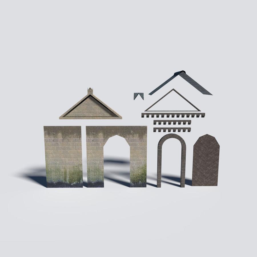 模块化城堡大门包 royalty-free 3d model - Preview no. 4