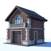 Garage med två våningar av klinker 3d model