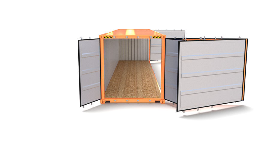 40ft Shipping Container Side Open royalty-free 3d model - Preview no. 3
