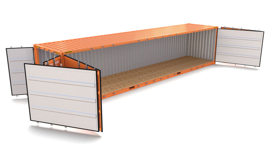 40ft Shipping Container Side Open royalty-free 3d model - Preview no. 6