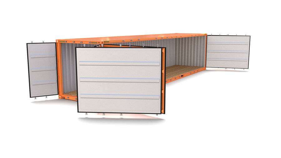 40ft Shipping Container Side Open royalty-free 3d model - Preview no. 4