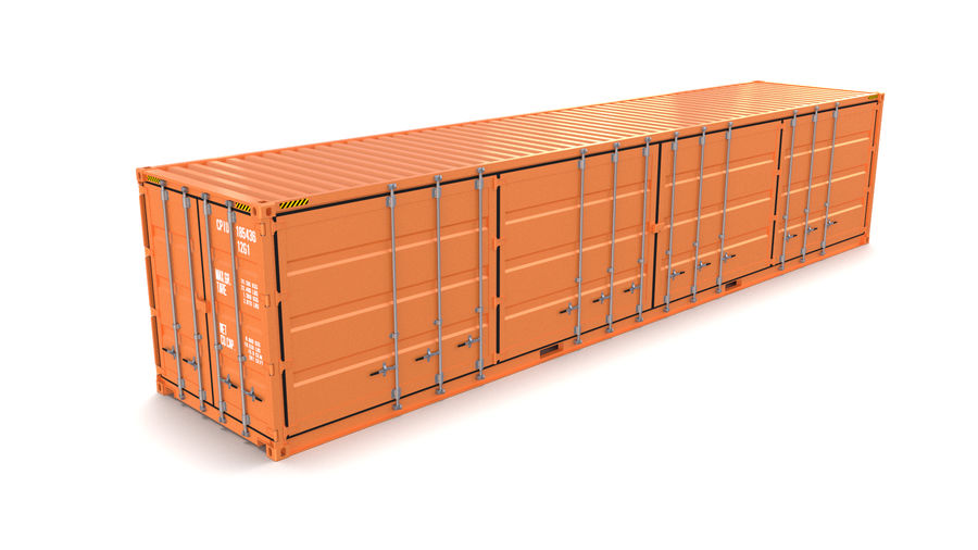 40ft Shipping Container Side Open royalty-free 3d model - Preview no. 1