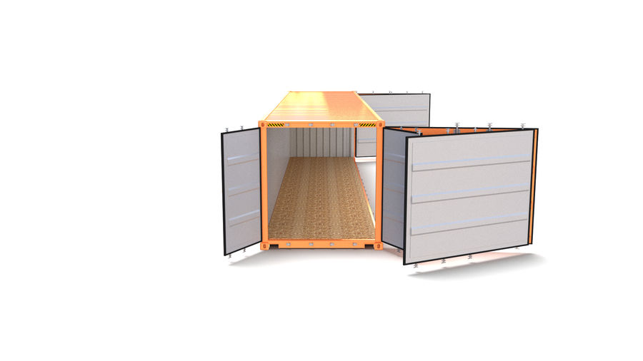 40ft Shipping Container Side Open royalty-free 3d model - Preview no. 2
