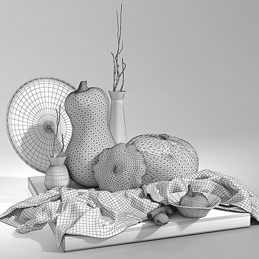 Set with pumpkins royalty-free 3d model - Preview no. 5
