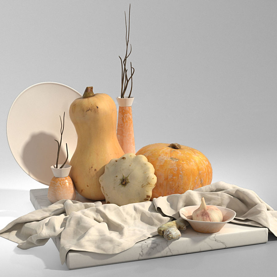 Set with pumpkins royalty-free 3d model - Preview no. 1