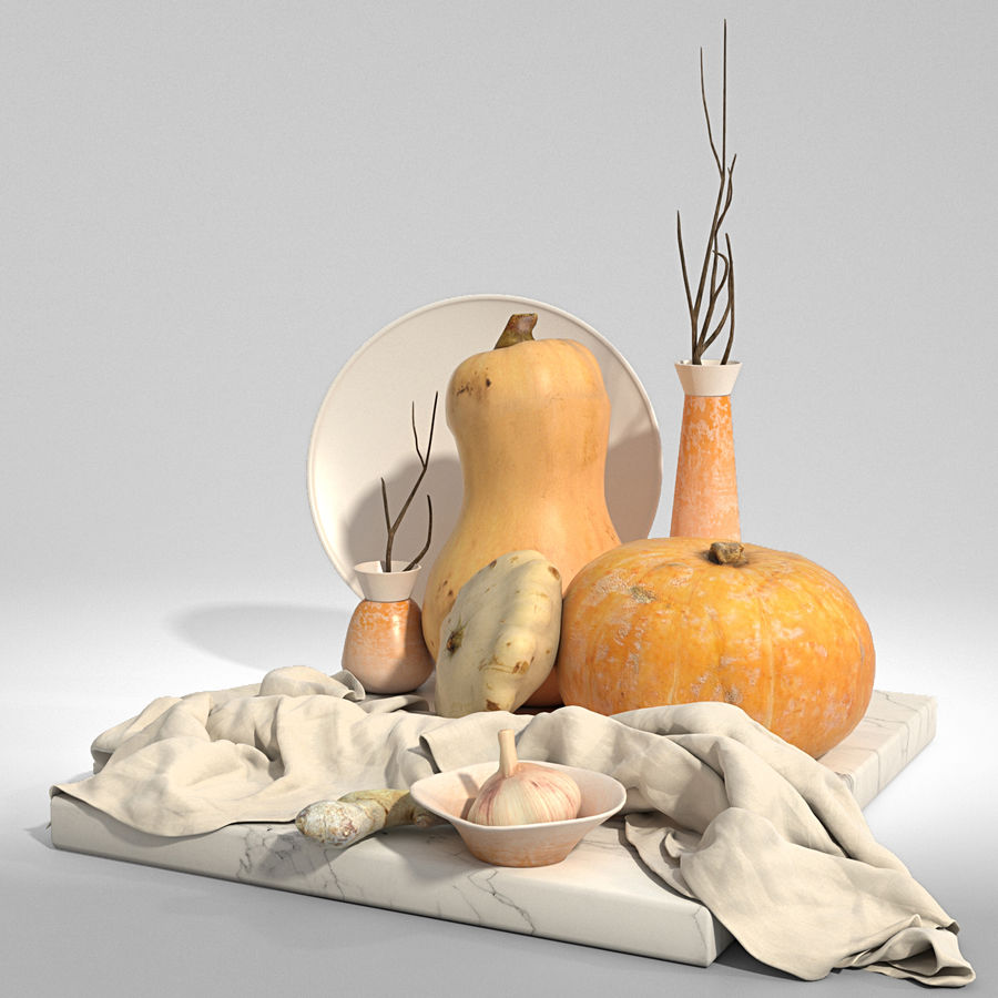 Set with pumpkins royalty-free 3d model - Preview no. 3