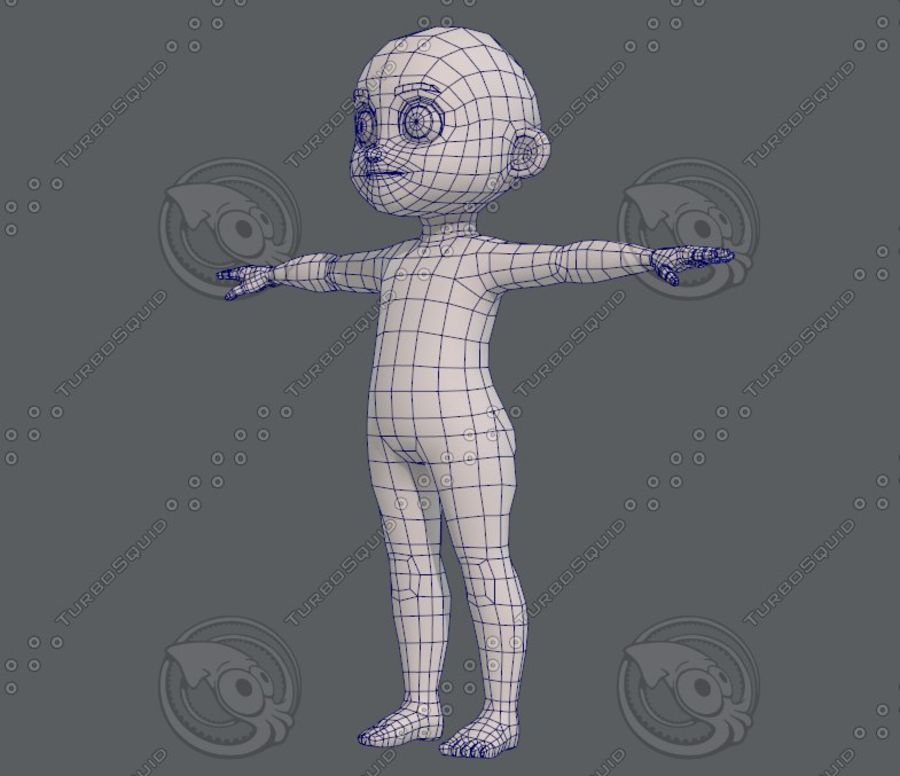 Base mesh boy character V08 royalty-free 3d model - Preview no. 17