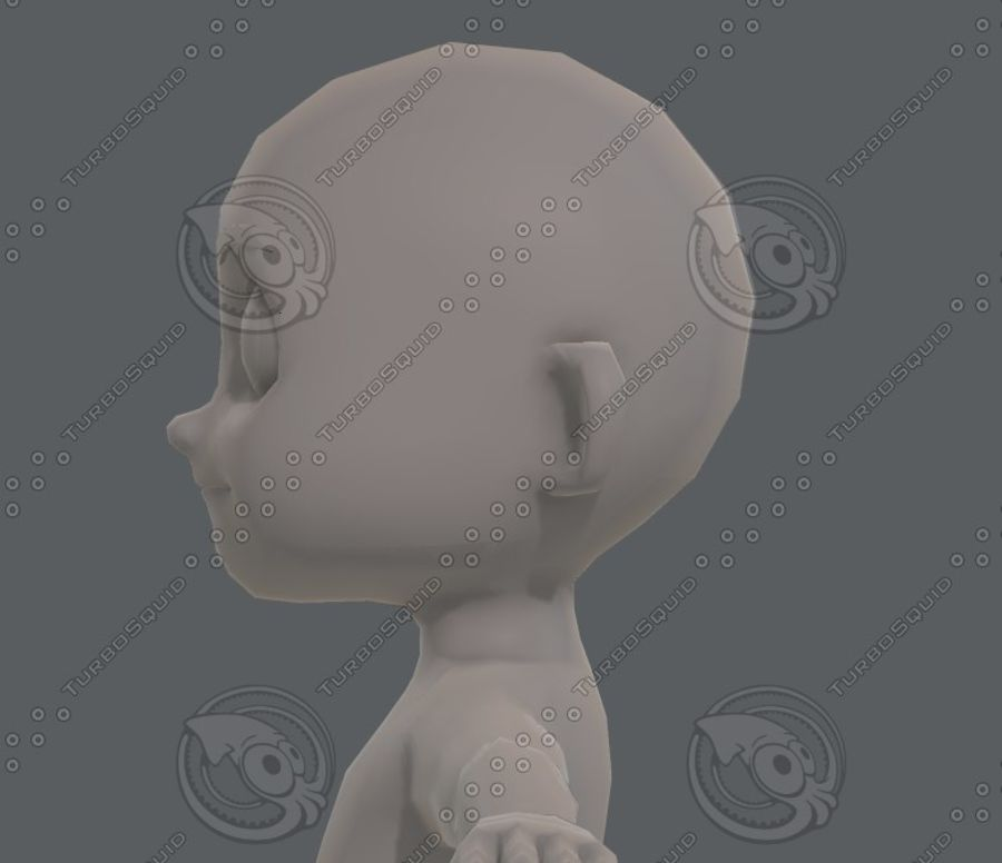 Base mesh boy character V08 royalty-free 3d model - Preview no. 24