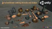 中世の調理器具や料理 3d model