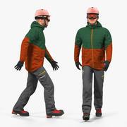 Snowboarder en équipement de sports d'hiver monté pour Maya 3d model