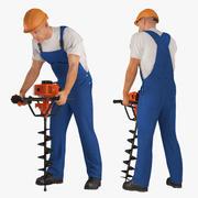 Builder Worker With Hole Driller Auger Rigged för Maya 3D-modell 3d model