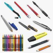 Pennor och pennor 3D-modeller Samling 3 3d model